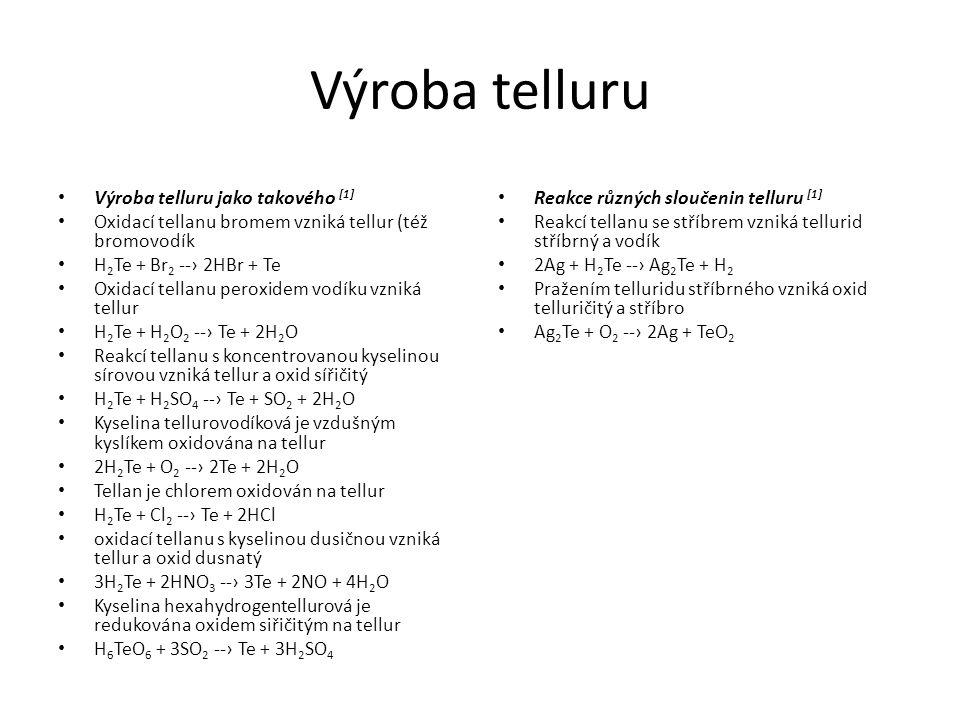Výroba telluru Výroba telluru jako takového [1]